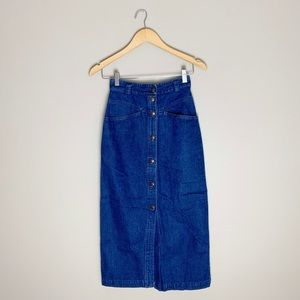 Vintage button front denim midi skirt